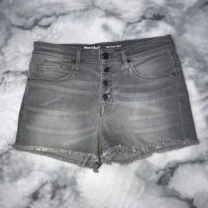 mossimo high-rise light gray denim shorts